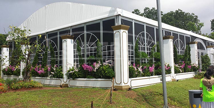Curve roof with glass sidewalls events tent [LS series]