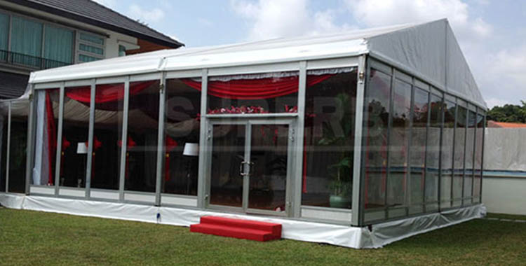 30′ x 30′ Wedding Party Tent With Glass Wall For Sale
