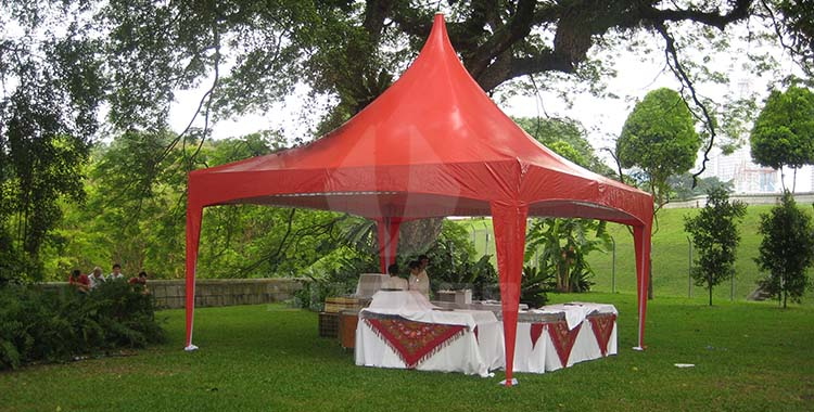 Red gazebo tent for wedding